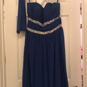 Royal Blue Maxi Chiffon Dress with Silver beads